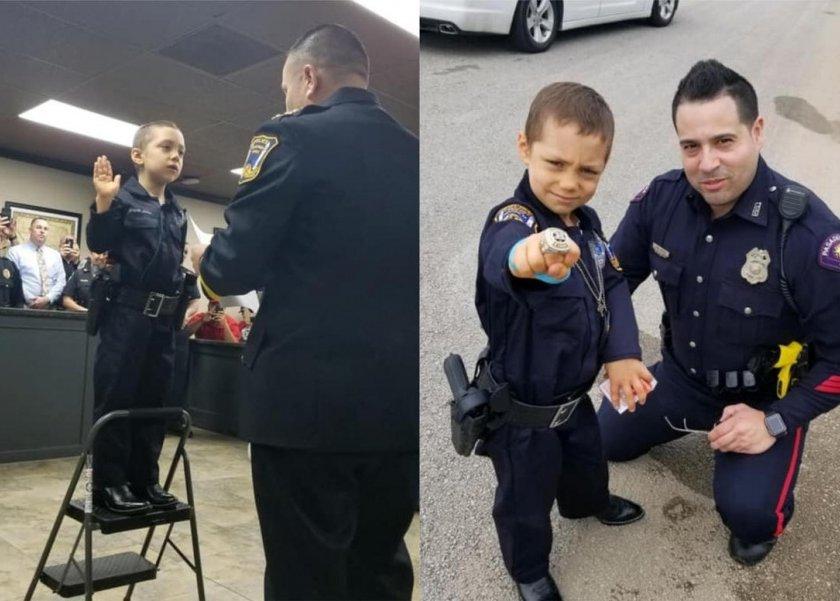 بالصور والفيديو  أصغر شرطية في العالم تؤدي اليمين في تكساس