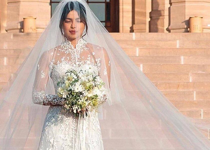 18a59877e هن   فيديو  تفاصيل فستان زفاف بريانكا تشوبرا.. 8 رسائل خفية داخله
