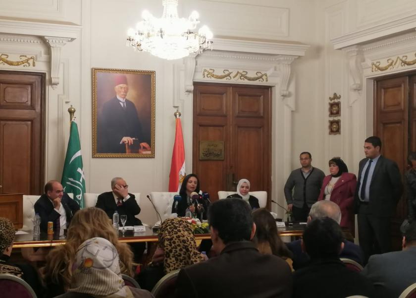 مايا مرسي  خلال يارتها لبيت الأمة