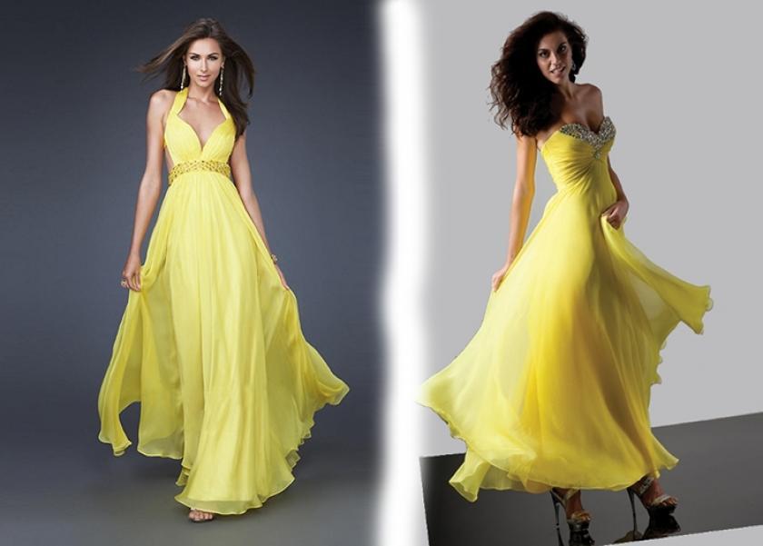 7139798b5dea5 بالصور مش بس للطلاق أفكار لاختيار الفستان الأصفر يوم خطوبتك - المرأة