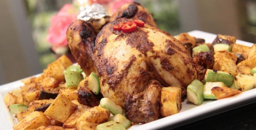 طريقة عمل لدجاج مشوي بالخضار