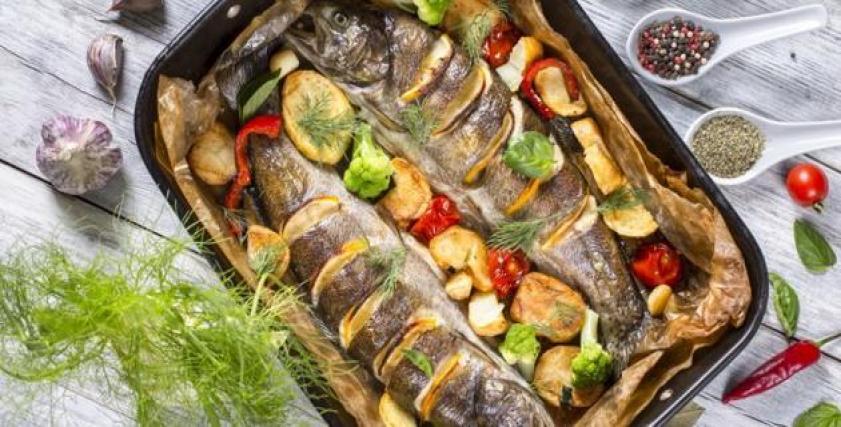 السمك البوري في الفرن