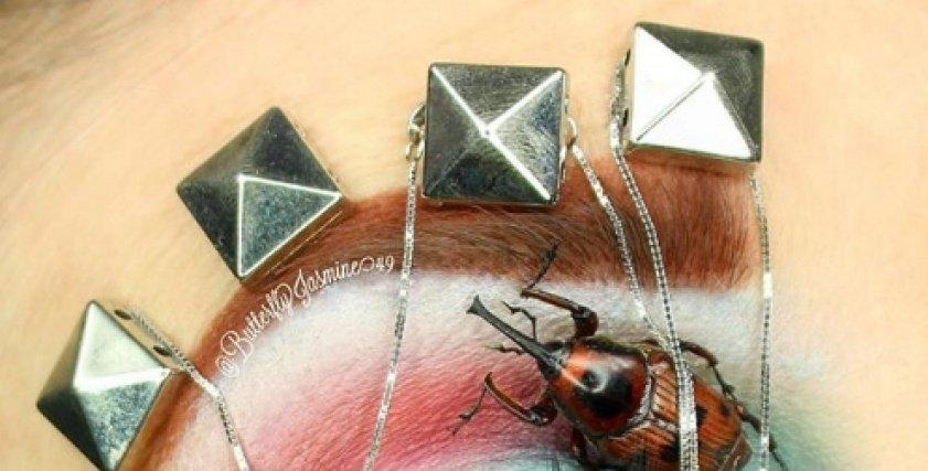 خبيرة تجميل تلجأ لاستخدام الحشرات في اطلالاتها