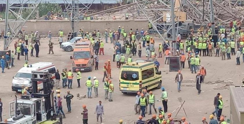 لحظة سقوط برج كهرباء أوسيم