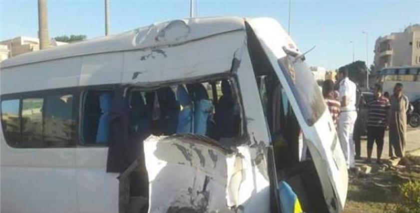 حادث صدام اتوبيس مدرسة